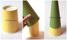 Creating a tree form from a paper cup and scrapbook paper