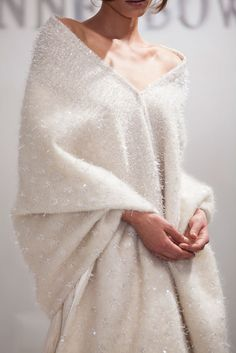 Things We Love: This Anne Bowen oversized shawl is perfect to go over a strapless gown if you're planning a winter wedding.