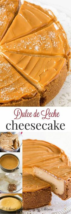 Decadent Dulce de Leche Cheesecake is part of food_drink - Sweet and creamy with touch of sea salt, this decadent dulce de leche cheesecake is quite a treat! Just Desserts, Delicious Desserts, Yummy Food, Desserts Caramel, Cheesecake Recipes, Dessert Recipes, Recipes Dinner, Flan Cheesecake, Soup Recipes