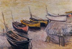 """Boats on the Beach"" ・ by Claude Monet ・ Completion Date: 1883 ・ Style: Impressionism ・ Genre: landscape"