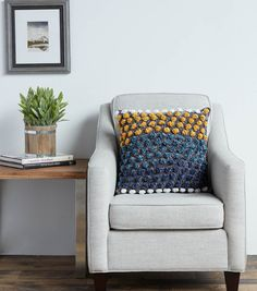 How To Make A Bernat® Velvet™ Bobbly Stripe Crochet Cushion Seat Cushions, Pillows, Cushions Online, Crochet Cushions, Pillow Forms, Slip Stitch, Wingback Chair, Single Crochet, Crochet Hooks