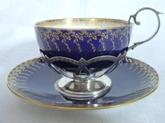 Minton Tea Cup and Saucer in Silver Holder China Cups And Saucers, China Tea Cups, Teapots And Cups, Teacups, Antique Tea Cups, Tea Service, My Cup Of Tea, Vintage Tea, Vintage Party
