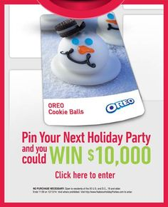 Time is running out! Visit NabiscoHolidayParties.com  by December 13, 2014 for a chance to win $10,000.  NO PURCHASE NECESSARY. Open to residents of the 50 U.S. and D.C., 18 and older. Ends 11:59 on 12/13/14. Void where prohibited.