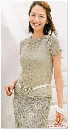 Изящный пуловер\реглан с ажурными дорожками. Спицы. Источник: http://www.stranamam.ru/post/12344579/