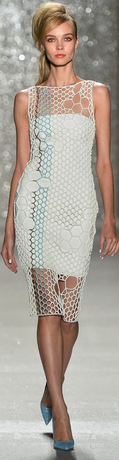 crocheted net dress ... maybe concentrate big holes on the body, try different colors with black as main color maybe ... (SPRING 2014 RTW Pamella Roland look1)
