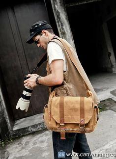 Military Style Leather Deco Canvas Messenger Shoulder Bag Khaki Camera Bag