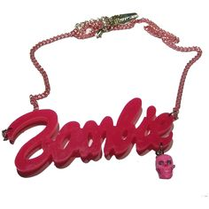 Kreepsville 666 acrylic zombie barbie necklace, with pink dangle skull with diamonte detail and pink chain, size approx 9cm