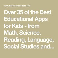 Over 35 of the Best Educational Apps for Kids - from Math, Science, Reading, Language, Social Studies and more! Fun Math Games, Fun Games For Kids, Puzzles For Kids, Educational Apps For Kids, Learning Apps, Reading Comprehension Skills, Reading Skills, Study Apps, Creative Writing Ideas