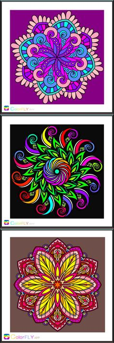 Simply tap to pick color and paint, DIY Mandala and share your art!