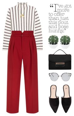 Loving the red pants! by ootdreport on Polyvore featuring Maje, RED Valentino, Bloomingdale's and Forever 21