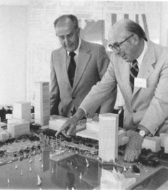 William Donald Schaefer, then Baltimore mayor, and James Rouse with model of Harborplace.