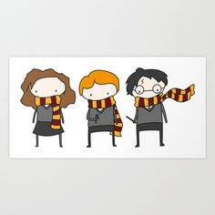 Harry, Ron & Hermione - Harry Potter Art Print by Justin Temporal | Society6