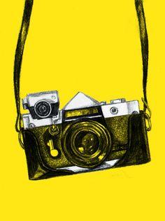ellaluella.blogspot.com Camera Sketches, Camera Drawing, Camera Art, Film Camera, Photography Illustration, Photo Illustration, Artwork For Home, Capture Photo, Mobile Covers