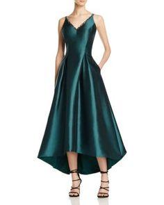 Carmen Marc Valvo Mikado V-Neck High/Low Gown   Bloomingdale's
