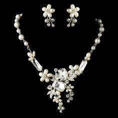 Beautiful Pearl And Crystal Wedding Jewelry Set Freshwater Pearl and Multi Shape Rhinestone Wedding Jewelry -Affordable Elegance Bridal