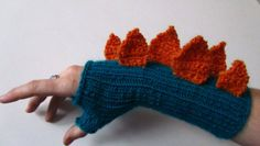 Inspiration - knitted dino wristwarmers