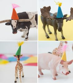 on the plastic animal workshop.pom pom hats are very important 186f566afd8a