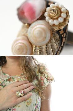 Unique Ring / Statement Ring  Sea Shell Jewelry by VintageRoseShop, $78.00