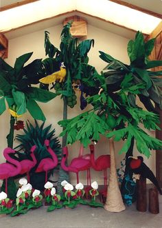 The Jungle (1991-1993, soft sculpture) Coconut, Banana and Papaya Trees, Flamingoes, Orchids, Frigates, and Macaws by Shirley Frey McConahay