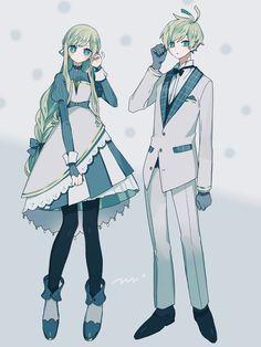 Character Outfits, Cute Anime Character, Character Art, Anime Siblings, Anime Couples, Anime Green Hair, Oc Manga, Anime Dress, Fashion Design Drawings