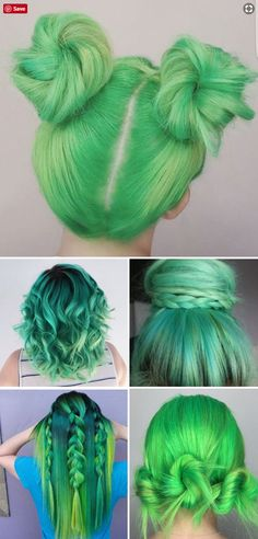 Green hair color for all kinds and lengths of hair | Braided green hair | Green hair in space buns | Green hair for short hair | Green hair in a top bun