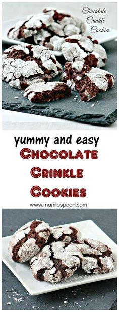 Easy to make, fudgy, chewy, sweet and oh so yummy - Chocolate Crinkle Cookies. Perfect addition to your Christmas or holiday cookie exchange! Freezable. | manilaspoon.com