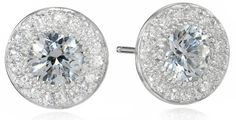 Sterling Silver Swarovski Zirconia 1 ct Round Center Halo Earrings $29.00 (save $31.00)  #AmazonCuratedCollection