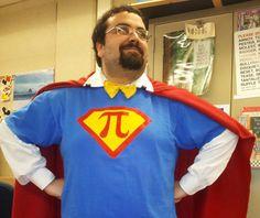 It's a bird... it's a plane... it's... Super Pi Man! Can you guess what subject Reagan High School teacher Dan Monfre teaches?