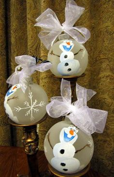 2014 Christmas Frozen Olaf handmade glass ornament with handpainted snowflakes - floating ornament, Christmas ball #2014 #Christmas