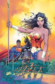 Wonder Woman, Superman, Batman Justice League art by Michael Turner. Wonder Woman Comic, Superman Wonder Woman, Wonder Women, Batman And Superman, Superman Comic Books, Superman Family, Michael Turner, Dc Comics Characters, Dc Comics Art