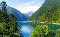 Download wallpapers mountain lake, 4k, China, mountain landscape, forest, beautiful nature