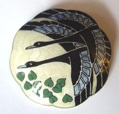 Gustav Gaudernack Norway Silver Basse Taille Enamel Flying Duck Brooch