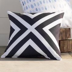"""Breakwater Bay Jackson Stripes Print Outdoor Pillow Color: Bewitching, Size: 16"""" H x 16"""" W x 1"""" D"""