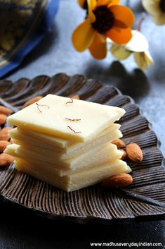 Easy badam burfi or almond burfi is an Indian sweet made with almond flour in the instant pot. Badam katli is distributed during diwali. Indian Dessert Recipes, Sweets Recipes, Apple Recipes, Indian Sweets, Indian Recipes, Vegan Recipes, Make Almond Flour, Coconut Flour Recipes, Conchas Recipe