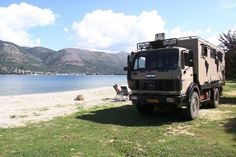 Mercedes Expedition Truck on beach in Palatria - Greece