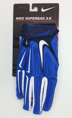 NIKE SUPERBAD 3.0 LOCK UP LOGO BLUE/WHITE FOOTBALL GLOVES PAIR (XL) -- NEW #Nike
