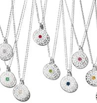 Sterling Silver Disc with Genuine Birthstone Accent on Silvertone Chain