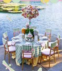 upscale table for a party by the water