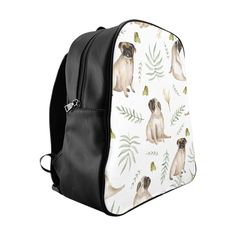 Our leafy pug design is a unique watercolor pattern featuring an adorable pug, butterflies and tropical leafs. Our stylish backpack features our unique design a Pug Accessories, Stylish Backpacks, Watercolor Pattern, Pugs, Collection, Action, Diy Crafts, Products, Group Action