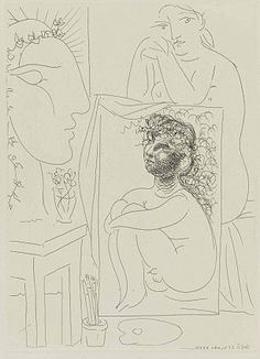 Picasso | Etching: Not unlike any of his other pieces, Picasso uses all kinds of different lines and shapes to put his etching together.