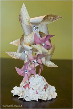 DIY Wedding Cake Pinwheel Topper