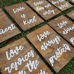 Set of 10 Wedding Aisle Signs 1 Corinthians 13 Wedding Signs | Etsy Love Does Not Boast, Love Does Not Envy, Wood Wedding Signs, Wedding Signage, Wedding In The Woods, Our Wedding, Wedding Ideas, Rejoice Always, Painted Wood