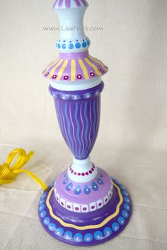 Hand Painted Table Lamp 020 Fun Funky Whimsical and by LisaFrick