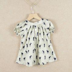 Varejo 2015 verão bow girls dress cervos vestidos da menina do algodão vestido crianças roupas lindas crianças em Vestidos de Mamãe e Bebê no AliExpress.com | Alibaba Group