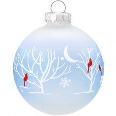 Cardinals In Moonlight Glass Ornament