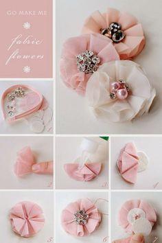 ARTESANATO COM QUIANE - Paps,Moldes,E.V.A,Feltro,Costuras,Fofuchas 3D: aprenda fazer: Flores de tecido (fabric flowers DIY)