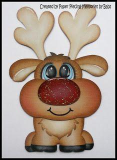 Pudgie Palz Reindeer created by PAPER PIECING MEMORIES BY BABS, pattern by Cuddly Cute Designs