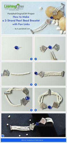 Pandahall Original DIY Project - How to Make a 3-Strand Pearl Bead Bracelet with Fan Links