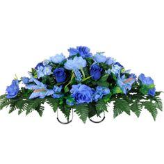 Blue Rose Buds, Stargazer Lilies and Hydrangea         (Silk Cemetery Flowers)