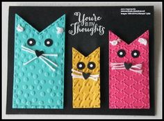 handmade card ... black card with brigjht multi coloured cats ... fishtail banners make mod cats! ... each one in dirrente, size, color and embossing folder texture ... fun card! ... Stampin'Up!